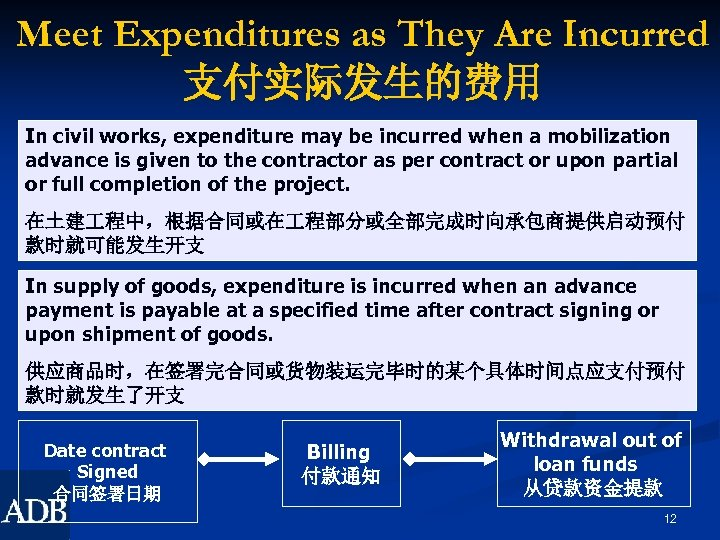 Meet Expenditures as They Are Incurred 支付实际发生的费用 In civil works, expenditure may be incurred