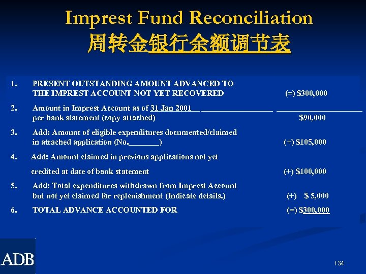 Imprest Fund Reconciliation 周转金银行余额调节表 1. 2. 3. 4. PRESENT OUTSTANDING AMOUNT ADVANCED TO THE