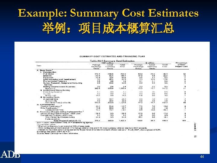 Example: Summary Cost Estimates 举例:项目成本概算汇总 44