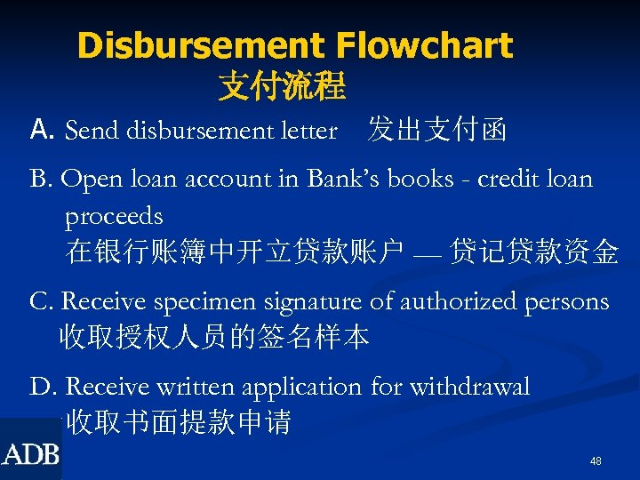 Disbursement Flowchart 支付流程 A. Send disbursement letter 发出支付函 B. Open loan account in Bank's