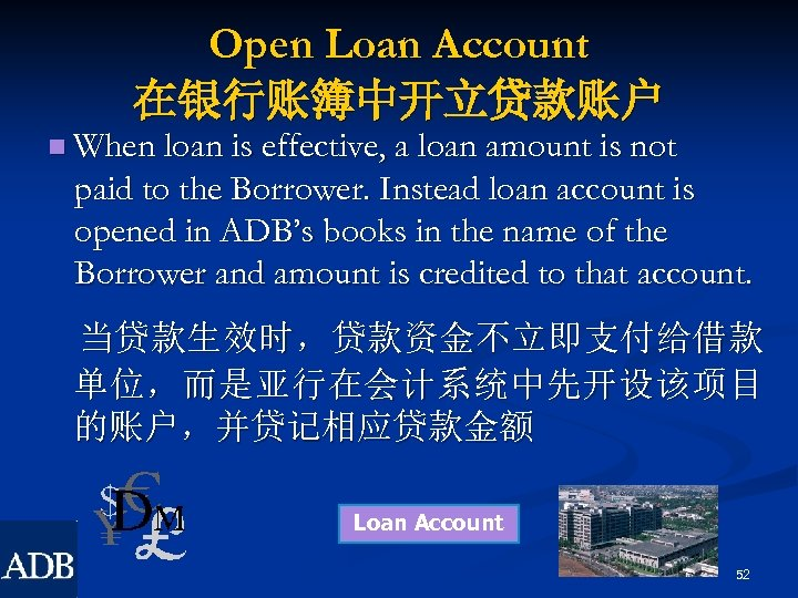 Open Loan Account 在银行账簿中开立贷款账户 n When loan is effective, a loan amount is not