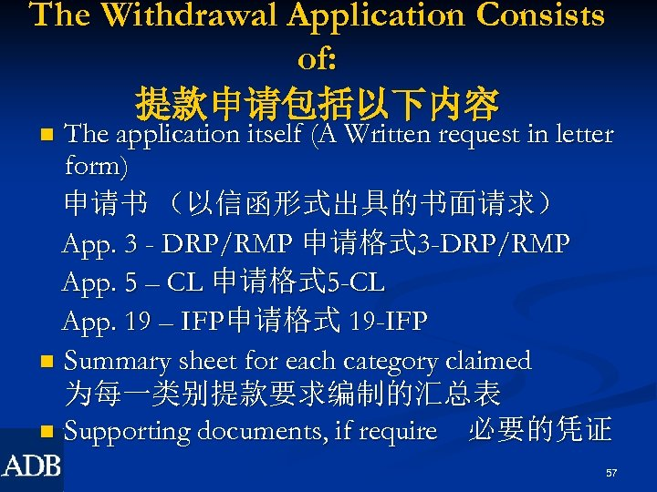 The Withdrawal Application Consists of: 提款申请包括以下内容 The application itself (A Written request in letter