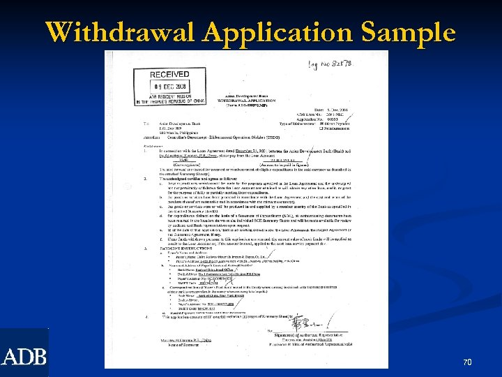 Withdrawal Application Sample 70