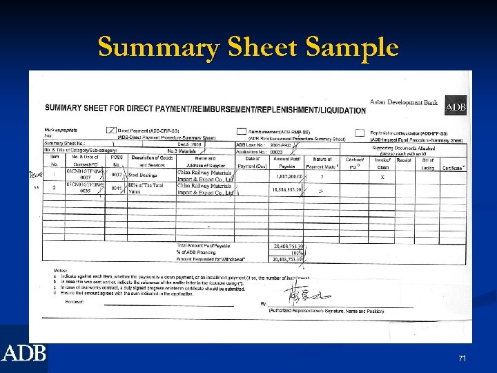 Summary Sheet Sample 71