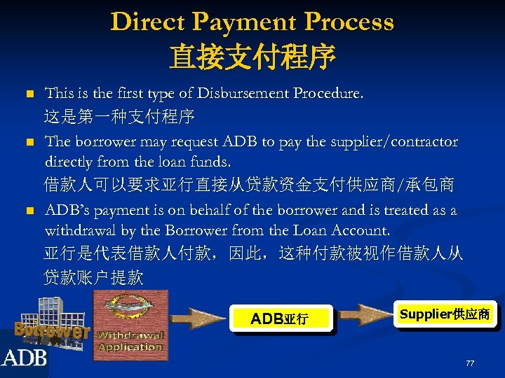 Direct Payment Process 直接支付程序 n n n This is the first type of Disbursement