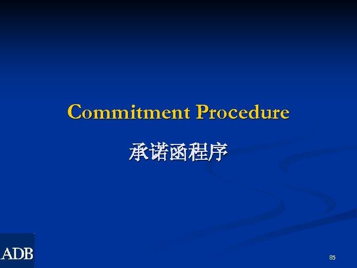 Commitment Procedure 承诺函程序 85