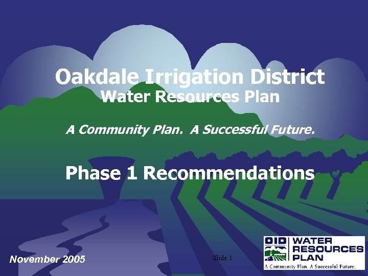 Oakdale Irrigation District Water Resources Plan A Community Plan. A Successful Future. Phase 1