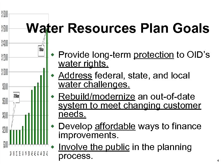 Water Resources Plan Goals w Provide long-term protection to OID's w w water rights.