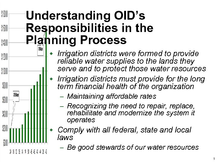 Understanding OID's Responsibilities in the Planning Process w Irrigation districts were formed to provide
