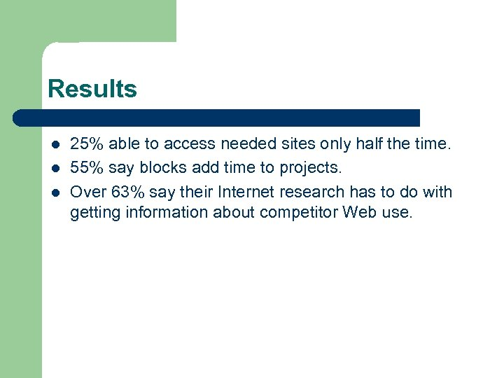 Results l l l 25% able to access needed sites only half the time.