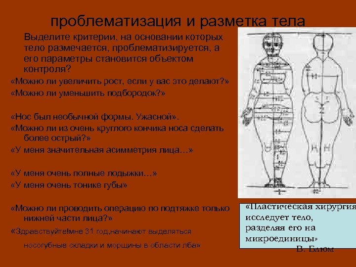 проблематизация и разметка тела Выделите критерии, на основании которых тело размечается, проблематизируется, а его
