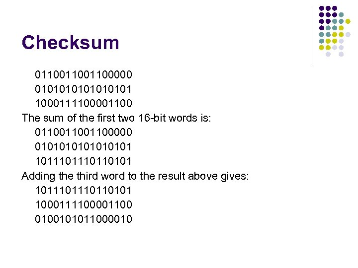 Checksum 011001100000 01010101 1000111100001100 The sum of the first two 16 -bit words is: