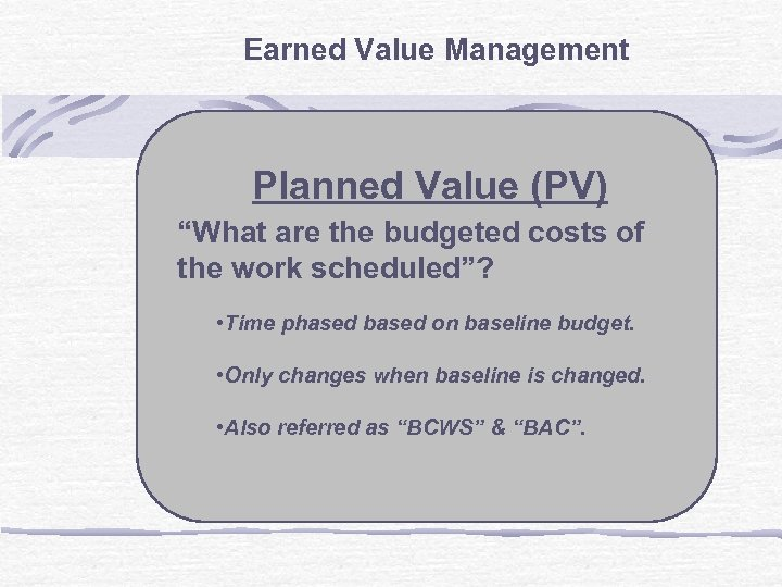 "Earned Value Management Planned Value (PV) ""What are the budgeted costs of the work"