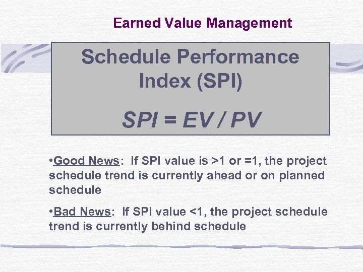Earned Value Management Schedule Performance Index (SPI) SPI = EV / PV • Good