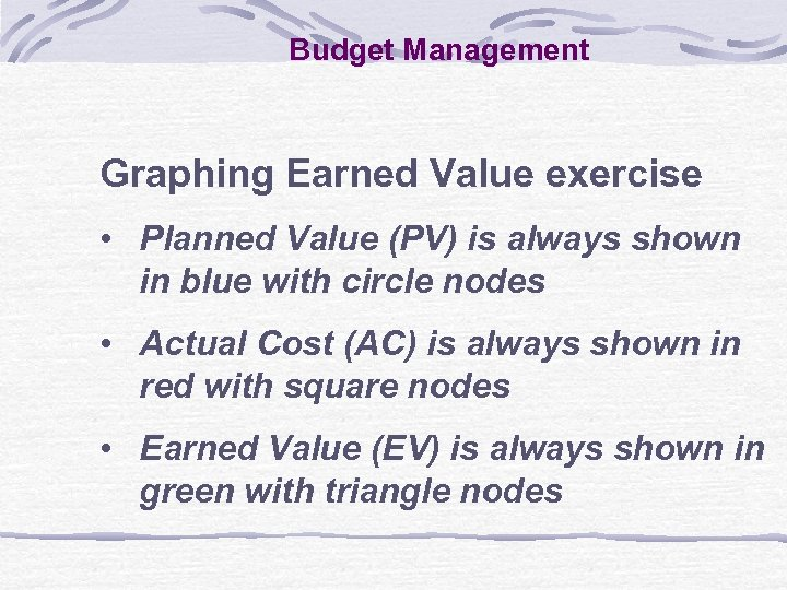 Budget Management Graphing Earned Value exercise • Planned Value (PV) is always shown in