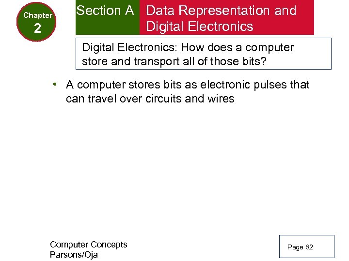 Chapter 2 Section A Data Representation and Digital Electronics: How does a computer store