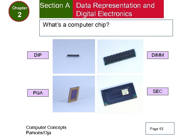 Chapter 2 Section A Data Representation and Digital Electronics What's a computer chip? DIP