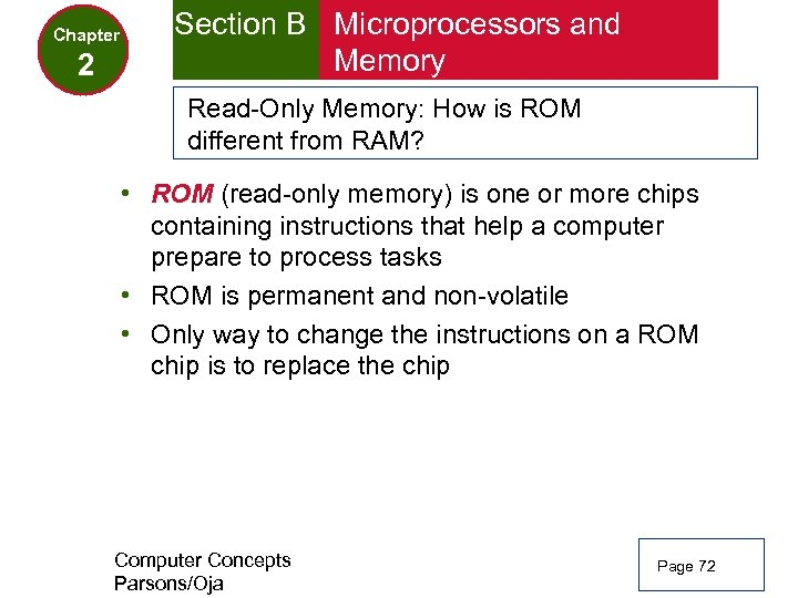 Chapter 2 Section B Microprocessors and Memory Read-Only Memory: How is ROM different from
