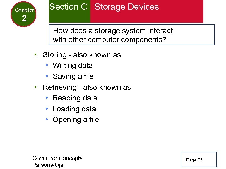 Chapter Section C Storage Devices 2 How does a storage system interact with other