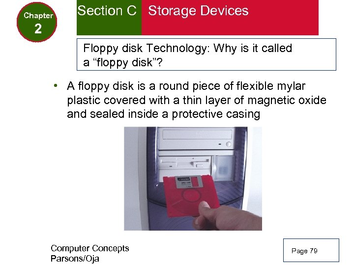 Chapter Section C Storage Devices 2 Floppy disk Technology: Why is it called a