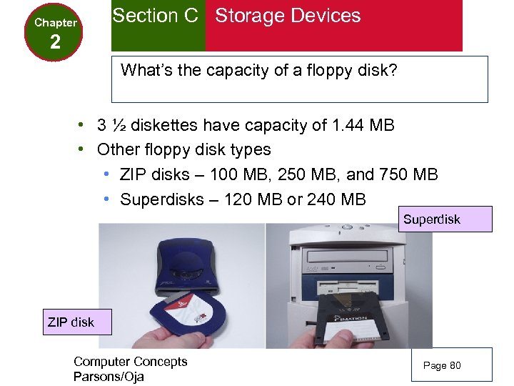 Section C Storage Devices Chapter 2 What's the capacity of a floppy disk? •