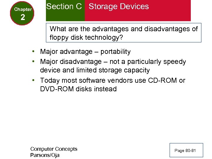 Chapter Section C Storage Devices 2 What are the advantages and disadvantages of floppy