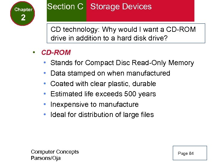 Chapter Section C Storage Devices 2 CD technology: Why would I want a CD-ROM