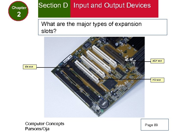 Chapter Section D Input and Output Devices 2 What are the major types of