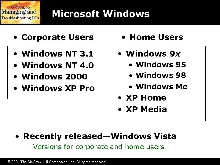 Microsoft Windows • Corporate Users • • Windows NT 3. 1 NT 4. 0