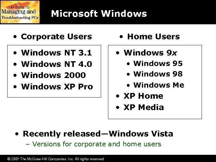 Microsoft Windows • Corporate Users • • Windows NT 3. 1 NT 4. 0