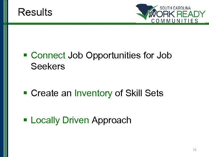 Results § Connect Job Opportunities for Job Seekers § Create an Inventory of Skill