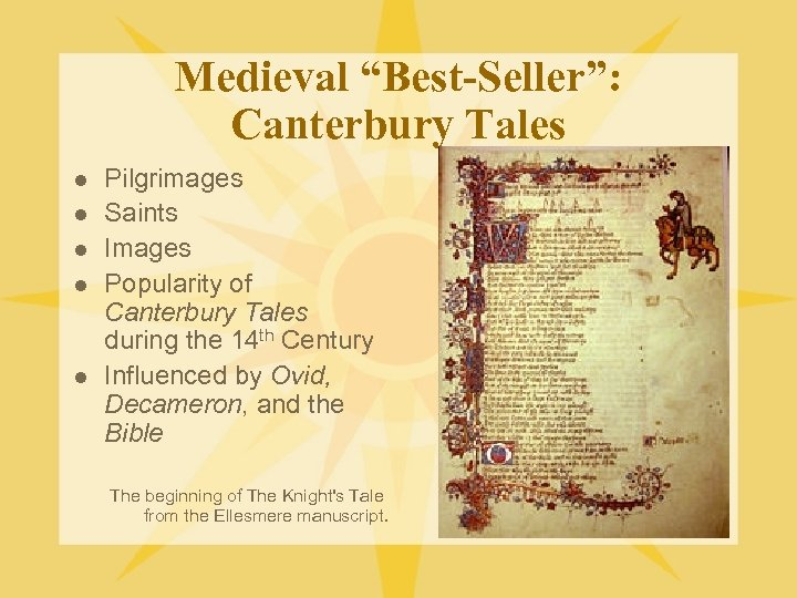 "Medieval ""Best-Seller"": Canterbury Tales l l l Pilgrimages Saints Images Popularity of Canterbury Tales"