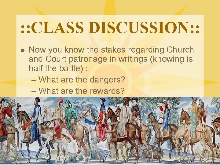 : : CLASS DISCUSSION: : l Now you know the stakes regarding Church and