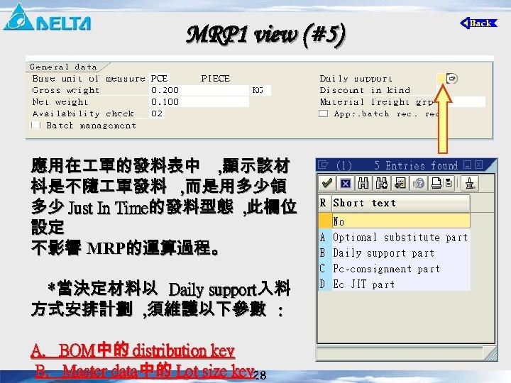 MRP 1 view (#5) 應用在 單的發料表中 , 顯示該材 枓是不隨 單發料 , 而是用多少領 多少 Just