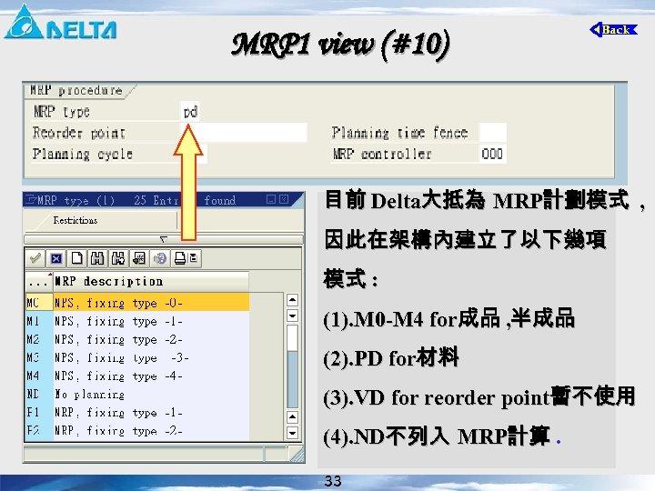 MRP 1 view (#10) 目前 Delta大抵為 MRP計劃模式 , 因此在架構內建立了以下幾項 模式 : (1). M 0