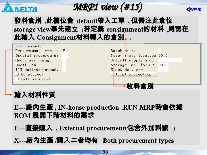 MRP 1 view (#15) 發料倉別 , 此欄位會 default帶入 單 , 但需注此倉位 storage view事先建立 ;