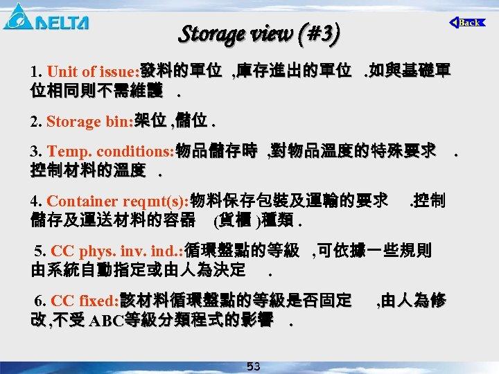 Storage view (#3) 1. Unit of issue: 發料的單位 , 庫存進出的單位. 如與基礎單 位相同則不需維護. 2. Storage