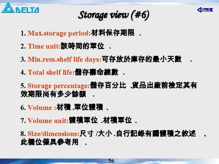 Storage view (#6) 1. Max. storage period: 材料保存期限. 1. 2. Time unit: 該時間的單位. 3.