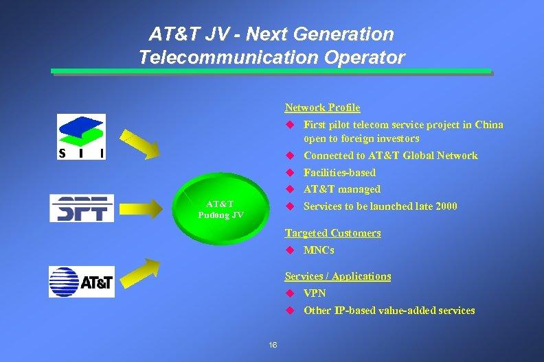 AT&T JV - Next Generation Telecommunication Operator Network Profile u First pilot telecom service