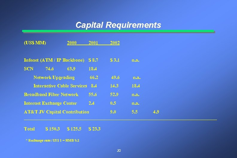 Capital Requirements (US$ MM) 2001 2002 Infonet (ATM / IP Backbone) $ 8. 7