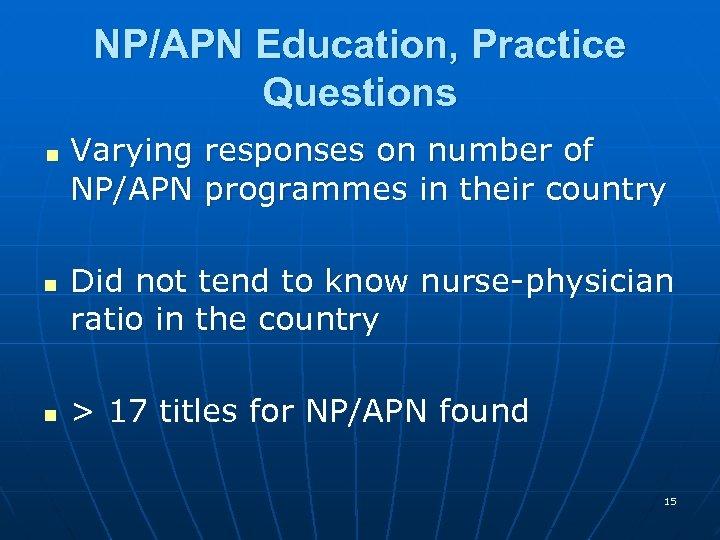 NP/APN Education, Practice Questions < n n Varying responses on number of NP/APN programmes