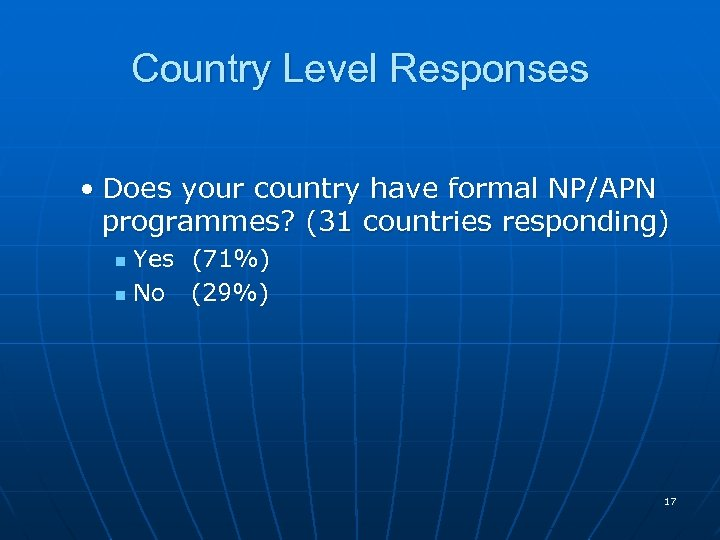 Country Level Responses • Does your country have formal NP/APN programmes? (31 countries responding)
