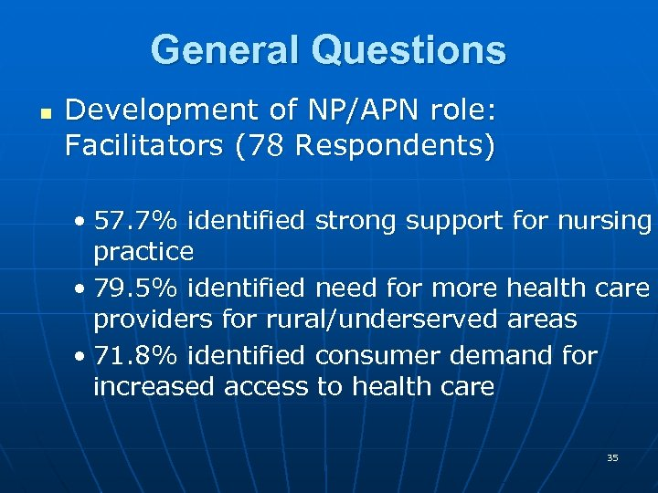 General Questions n Development of NP/APN role: Facilitators (78 Respondents) • 57. 7% identified