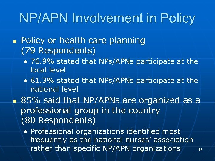 NP/APN Involvement in Policy or health care planning (79 Respondents) • 76. 9% stated