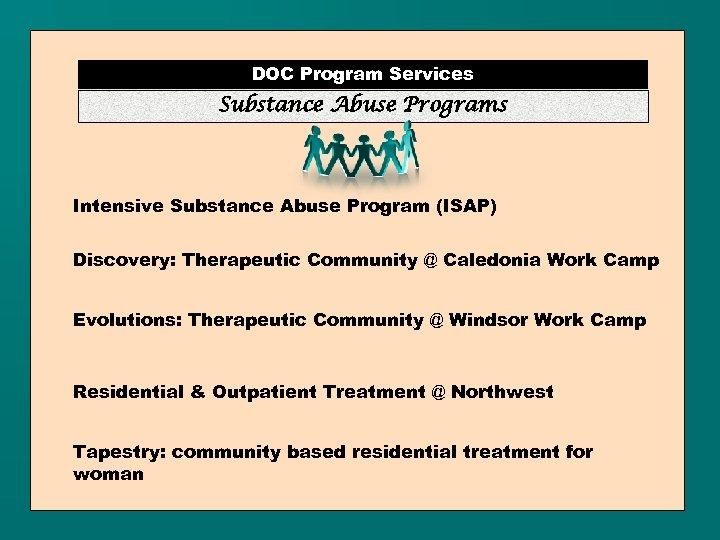 DOC Program Services Substance Abuse Programs Intensive Substance Abuse Program (ISAP) Discovery: Therapeutic Community