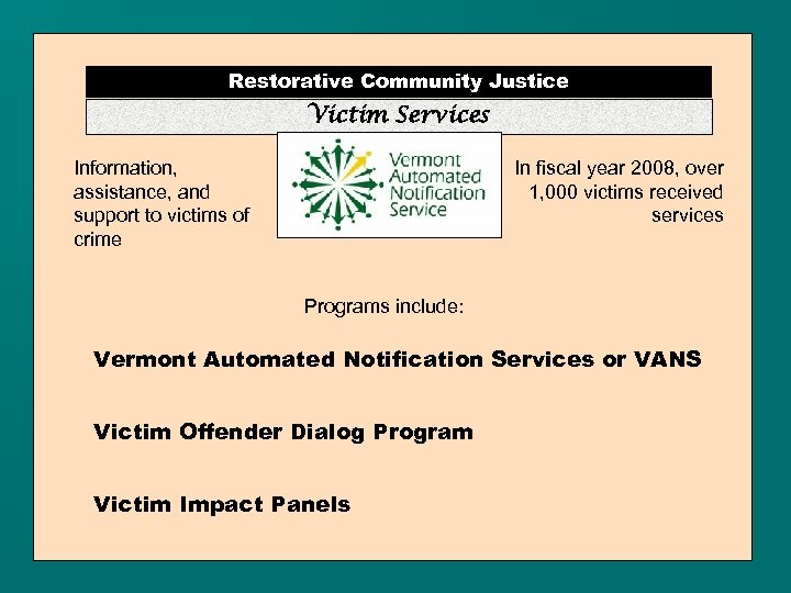Restorative Community Justice Victim Services Information, assistance, and support to victims of crime In