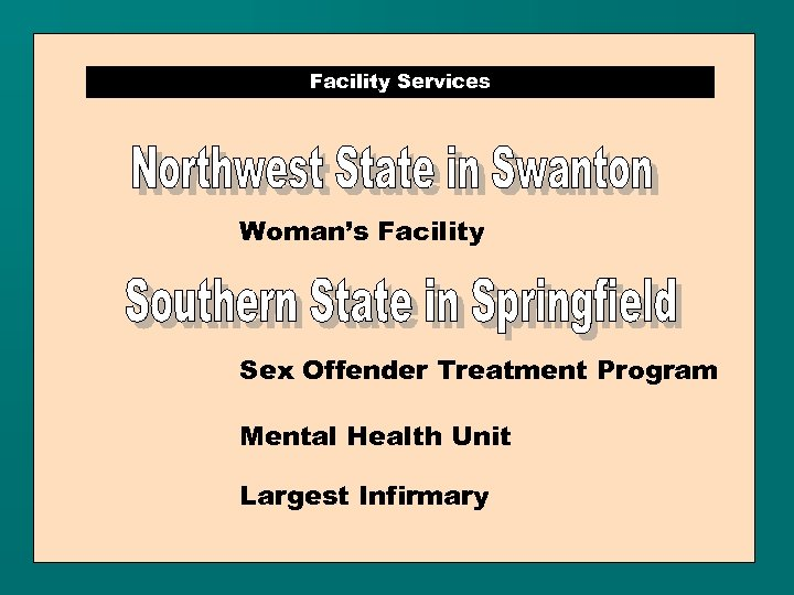 Facility Services Woman's Facility Sex Offender Treatment Program Mental Health Unit Largest Infirmary