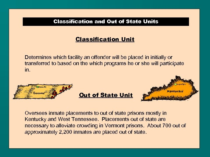 Classification and Out of State Units Classification Unit Determines which facility an offender will