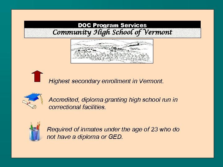 DOC Program Services Community High School of Vermont Highest secondary enrollment in Vermont. Accredited,