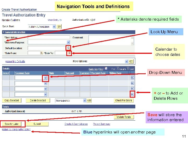 Navigation Tools and Definitions * Asterisks denote required fields Look Up Menu Calendar to